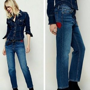 Free People Rose Embroidered Slim Fit Jeans